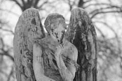 Svartvit gammal staty Arkivbild