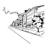 Svartvit gata i staden Royaltyfri Foto