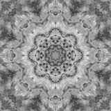 Svartvit gråtonMandala med handgjord textur för konst Royaltyfri Fotografi