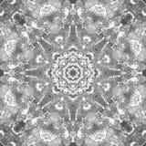 Svartvit gråtonMandala med handgjord textur för konst Royaltyfria Bilder