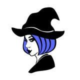 Svartvit halloween designbeståndsdel, häxa i en hatt Arkivfoton