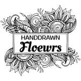 Svartvit hand dragen blom- ram Royaltyfria Bilder