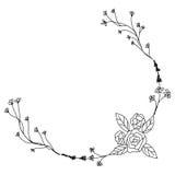 Svartvit hand dragen krans för blommatappningdesign Arkivfoto