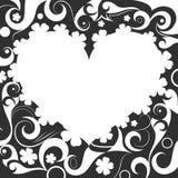 Svartvit hjärtaprydnad Royaltyfria Bilder