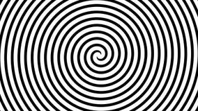 Svartvit hypnotisk spiral illusionbakgrund, video 4K stock illustrationer