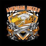 Svartvit illustration av American Eagle med tappningbandet p? den m?rka bakgrunden Text ?r p? det separata lagret vektor illustrationer