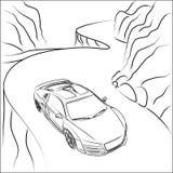 Sportbil på bergvägen stock illustrationer