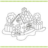 Svartvit illustration av ett hus stock illustrationer