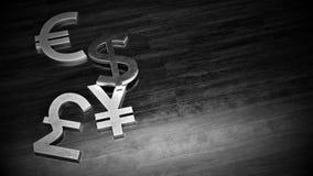 Svartvit illustration av symbolet för metalldollar-, euro-, yen- och pundvaluta på trägolvet med fritt utrymme på rätt royaltyfri illustrationer