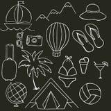 Svartvit illustration på temat av sommarferier Royaltyfri Illustrationer