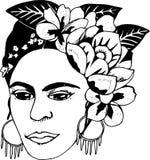 Svartvit illustrationfhalokhalo Illustration av blommor och den konstnärliga kvinnan royaltyfri illustrationer