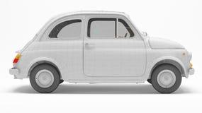 Svartvit italiensk bil 3d på vit bakgrund med polygoningreppet Arkivfoto