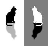 Svartvit katt stock illustrationer