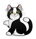 Svartvit katt för tecknad film Arkivfoto