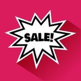 Svartvit komisk bubbla med skugga och svart inskrift SALE på rosa bakgrund vektor royaltyfri illustrationer