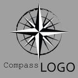 Svartvit kompasslogo gears symbolen Ros av vind Royaltyfri Foto
