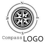 Svartvit kompasslogo gears symbolen Ros av vind Royaltyfria Bilder