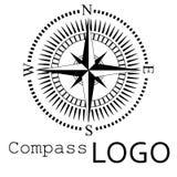 Svartvit kompasslogo gears symbolen Ros av vind Arkivfoton
