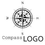 Svartvit kompasslogo gears symbolen Ros av vind Royaltyfri Fotografi