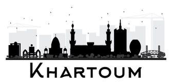 Svartvit kontur för Khartoum stadshorisont vektor illustrationer