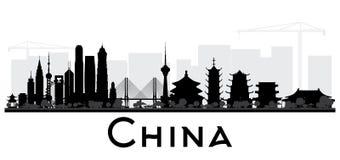 Svartvit kontur för Kina stadshorisont royaltyfri illustrationer