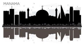 Svartvit kontur för Manama stadshorisont med reflexioner Arkivfoton