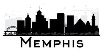 Svartvit kontur för Memphis City horisont vektor illustrationer