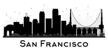 Svartvit kontur för San Francisco City horisont stock illustrationer