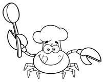 Svartvit krabbakock Cartoon Mascot Character som rymmer en sked royaltyfri illustrationer