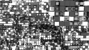 svartvit kubikbakgrund 3d stock illustrationer