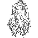 Svartvit kvinna för vektorillustration med blommor Färga sidor för vuxna människor Kort tryck zentagl klotter Royaltyfria Foton