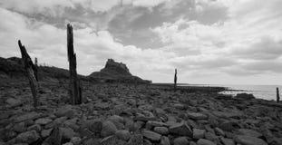 Svartvit Lindisfarne slott Arkivfoton