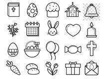 Svartvit linjär plan symbolsuppsättning för påsk vektor illustrationer