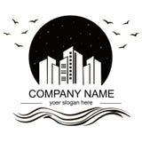 Svartvit logo, fastighetsmäklarebyrå vektor illustrationer