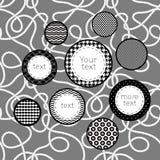 Svartvit mönstrad bakgrund för cirkelinfographicsmall, vektor Royaltyfri Bild
