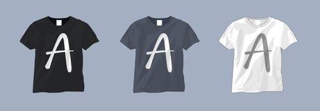 Svartvit mall för T-skjorta royaltyfri illustrationer