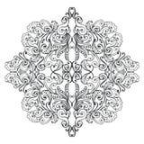 Svartvit mandala Vuxen design för sida för färgläggningbok Royaltyfri Bild