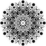 Svartvit Mandalaprydnad för vektor, flamma, skarpa kanter, cirklar med in royaltyfri illustrationer