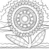 Svartvit mandalaprydnad tecknad handmodell Arkivfoton