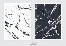 Svartvit marmorräkningsbakgrund, fastställd mall för vektor royaltyfri illustrationer
