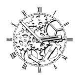 Svartvit mekanisk klocka Arkivbild