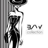 Svartvit modekvinnakontur, härlig modemodell på svart bakgrundslogoillustration stock illustrationer