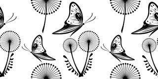 Svartvit modell för sömlös vektor med maskrosor och fjärilar royaltyfri illustrationer