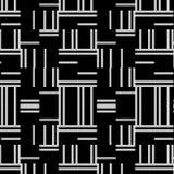 Svartvit modern upprepande modell med horisontal- och vertikala band stock illustrationer