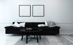 Svartvit modern vardagsrum arkivfoto