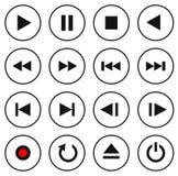 Svartvit multimediakontrollknapp/symbolsuppsättning Arkivbild