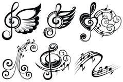 Svartvit musikalisk designbeståndsdeluppsättning musikaliska symboler ocks? vektor f?r coreldrawillustration arkivfoto