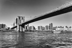 Svartvit New York bro arkivbild