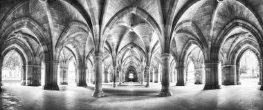 Svartvit panorama för kloster Arkivfoton