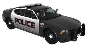 Svartvit polisbil Fotografering för Bildbyråer
